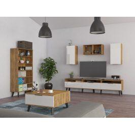 Obývací pokoj SVEN 5, dub burgundský/bílý lesk Obývací stěny