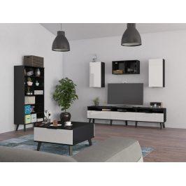 Obývací pokoj SVEN 5, černá/bílý lesk