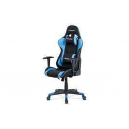 Kancelářská židel, modrá ekokůže + černá látka, houpací mech., plastový kříž KA-V608 BLUE