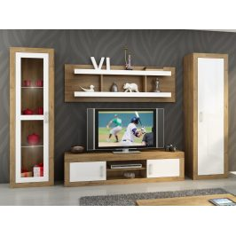 Obývací stěna VERIN 4, dub burgundský/bílý lesk