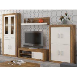 Obývací stěna VERIN 10, dub burgundský/bílý lesk