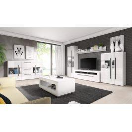 Obývací pokoj TULSA, bílá/bílý lesk