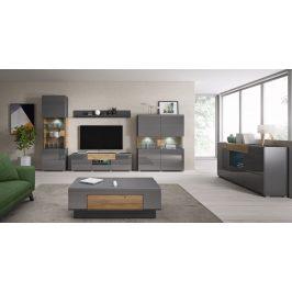Obývací pokoj TOLEDO, antracit lesk/dub grandson