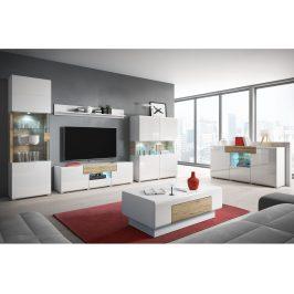 Obývací pokoj TOLEDO, dub san remo/bílý lesk Obývací stěny