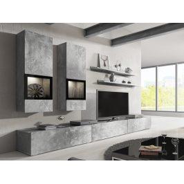BAROS obývací stěna TYP 10, beton světlý