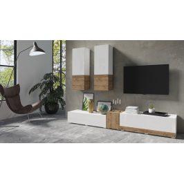 POWER I obývací stěna TYP 10, bílý lesk/dub sandal