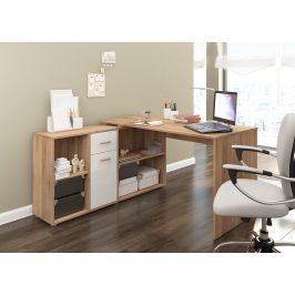 Psací stůl BEAT L levý, barva: dub sonoma/bílý lesk