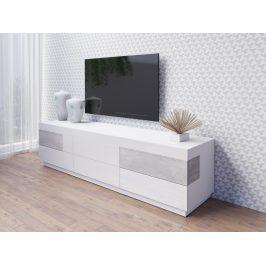 SILKE TYP 40 televizní stolek 6S, bílá/bílý lesk/beton colorado