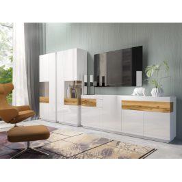 SILKE TYP 14 obývací stěna 1, bílá/bílý lesk/dub wotan