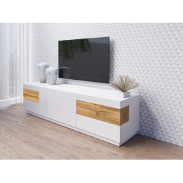 SILKE TYP 40 televizní stolek 6S, bílá/bílý lesk/dub wotan
