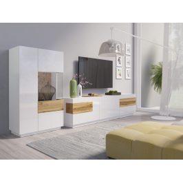 SILKE TYP 15 obývací stěna 2, bílá/bílý lesk/dub wotan