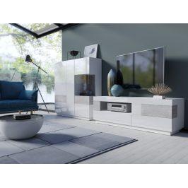 SILKE TYP 16 obývací stěna 3, bílá/bílý lesk/beton colorado
