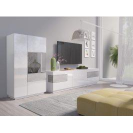SILKE TYP 15 obývací stěna 2, bílá/bílý lesk/beton colorado
