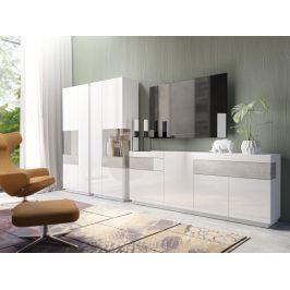 SILKE TYP 14 obývací stěna 1, bílá/bílý lesk/beton colorado
