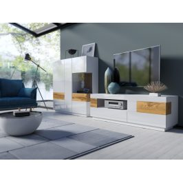 SILKE TYP 16 obývací stěna 3, bílá/bílý lesk/dub wotan