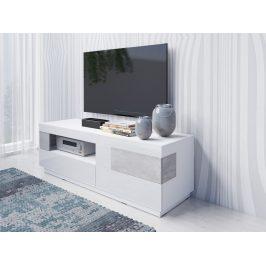 SILKE TYP 41 televizní stolek 2S1V, bílá/bílý lesk/beton colorado