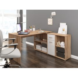 Psací stůl BEAT P pravý, barva: dub sonoma/bílý lesk