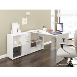 Psací stůl BEAT L levý, barva: bílá/bílý lesk