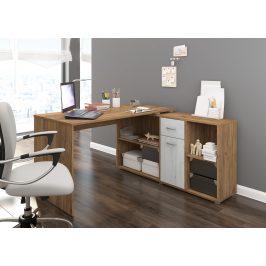 Psací stůl BEAT pravý, barva: craft zlatý/craft bílý