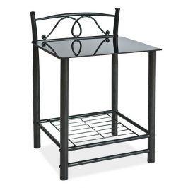 Noční stolek ET-920, černý kov + sklo