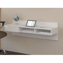 Designový psací stůl UNO, bílá/bílý lesk