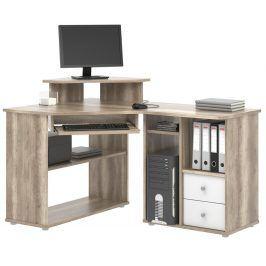 Rohový PC stůl THEODOR, canyon oak/bílá