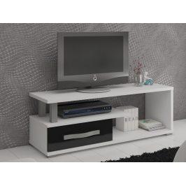 MORAVIA FLAT ANGEL TV stolek 1D, bílá/černý lesk Stolky pod TV
