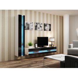 Obývací stěna VIGO NEW 8, bílá/černý lesk