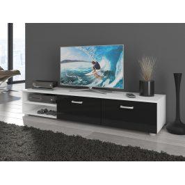 MAGIC, RTV stolek dlouhý, bílá/černý lesk Stolky pod TV