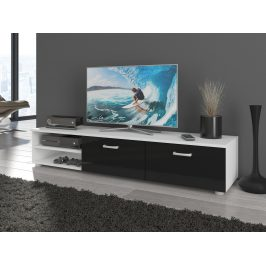 MORAVIA FLAT MAGIC, RTV stolek dlouhý, bílá/černý lesk