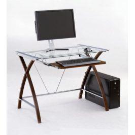 Skleněný PC stůl B-16, wenge