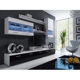 LOGO II, obývací stěna, korpus bílý/dvířka bílý a černý lesk