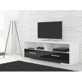 TV stolek ROMA, bílá/černý lesk