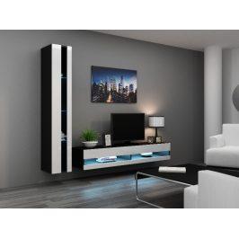 Obývací stěna VIGO NEW 8, černá/bílý lesk