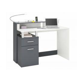 ORACLE, psací stůl šíře 120 cm, bílá/grafit, psací stůl šíře 120 cm, bílá/grafit