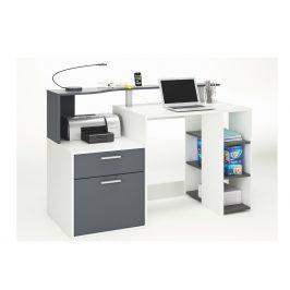 ORACLE, psací stůl šíře 140 cm, bílá/grafit, psací stůl šíře 140 cm, bílá/grafit