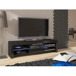 MORAVIA FLAT TV stolek FLEX, černá/černý lesk