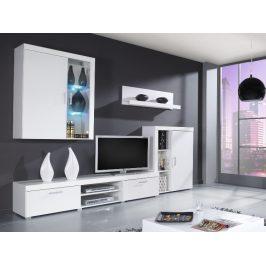 SAMBA A, obývací stěna, bílá/bílý lesk
