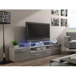 CAMA Televizní stolek RTV EVORA, bílá/šedý lesk