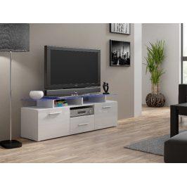 Televizní stolek RTV EVORA MINI, bílá/bílý lesk