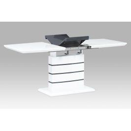 Autronic Jídelní stůl 140+40x80, vysoký lesk bílý/šedý HT-410 WT