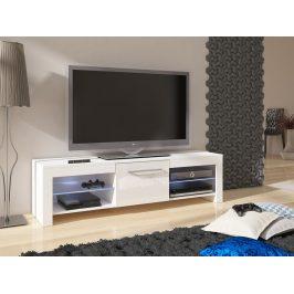 MORAVIA FLAT TV stolek FLEX, bílá/bílý lesk