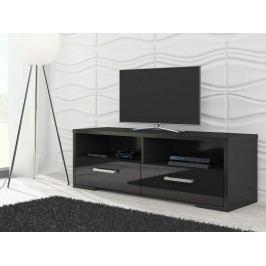 MORAVIA FLAT TV stolek ROMA, černá/černý lesk