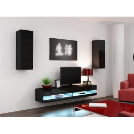 Obývací stěna VIGO NEW 10, černá/černý lesk