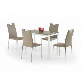 Jídelní stůl ARGUS, béžová/bílá, kov/sklo Jídelní stoly