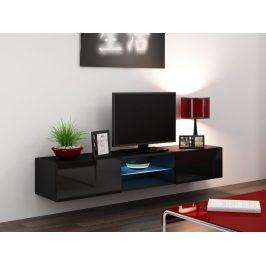 CAMA Televizní stolek VIGO SKLO, černá/černý lesk