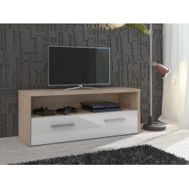 TV stolek TIRANA, dub sonoma/bílý lesk