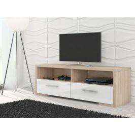 MORAVIA FLAT TV stolek ROMA, dub sonoma/bílý lesk Stolky pod TV