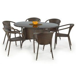 Stůl MASTER, tmavě hnědá/černá