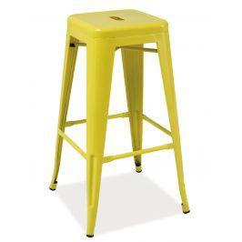 Barová kovová židle LONG, žlutá